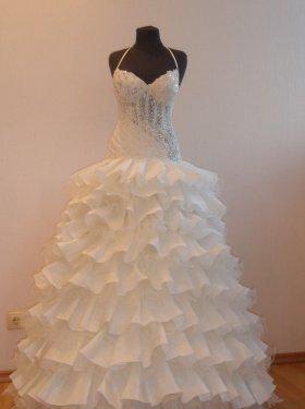 Свадебное платье Кармэн (платье трансформер), отстёгивается юбка. прокат-3000грн., продажа 6000 грн. Материал: жан-жан, фатин. Цвет айвори. Размер 44, 46.