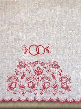 Свадебный рушник, натуральный лён, компьютерная вышивка, 200 грн.
